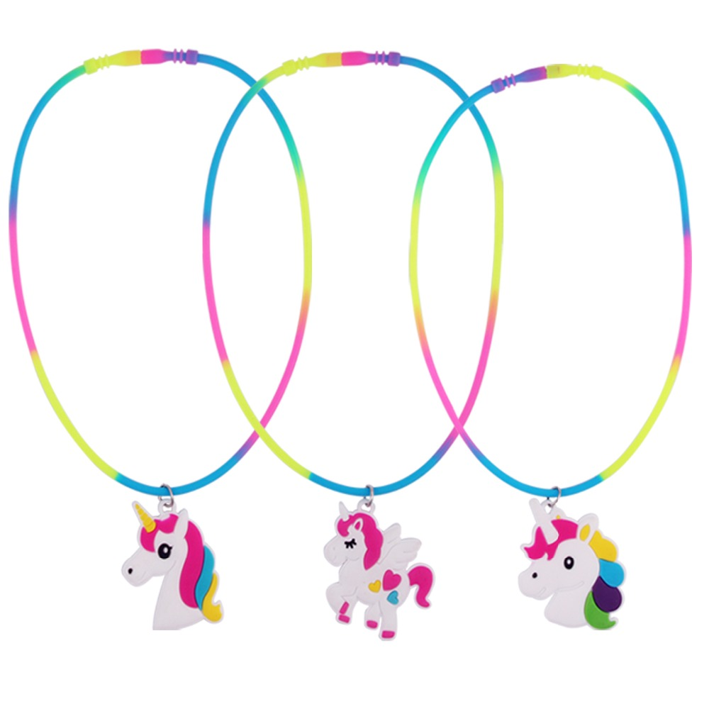 3pcs Rainbow Unicorn Pendant Necklaces Rubber Toys Birthday Party Children Best Friend Friendshipe Chain Jewelry Accessories