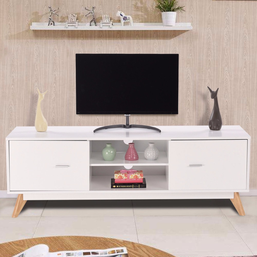 Giantex Modern TV Stand Entertainment Center Console Cabinet Stand 2 Doors Shelves White Wood Living Room Furniture HW60413