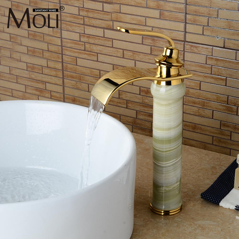 Luxury Golden Waterfall Bathroom Faucets Jade Body Hot and Cold Basin Sink Tall Mixer Tap