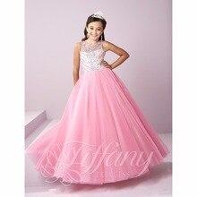 2017 schöne Rosa Mädchen Pageant Kleider Perlen Funkelnden Kristall Lace Up Ballkleid Blumenmädchen Kleid kinder abendkleider