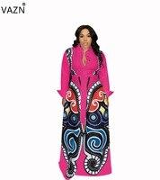 VAZN 2019 New Arrive Sexy V Neck Full SLeeve Long Dress Women Print 4 Color Plus Size Dress Lady Lace Up Hollow Out Dress DM8035