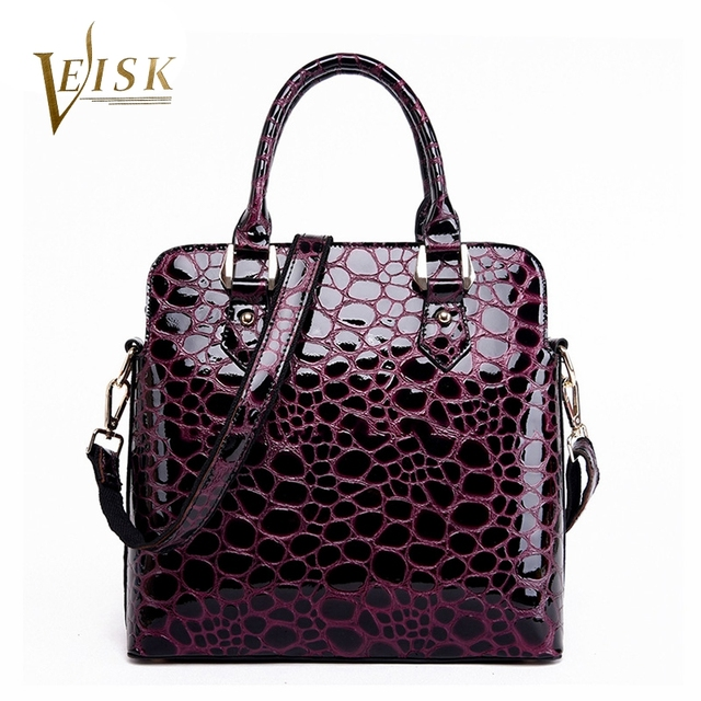 VEISK Fashion Women Genuine Leather Bag Designer Handbags High Quality Solid Cowhide Shoulder Bag Alligator Ladies Hand Bag