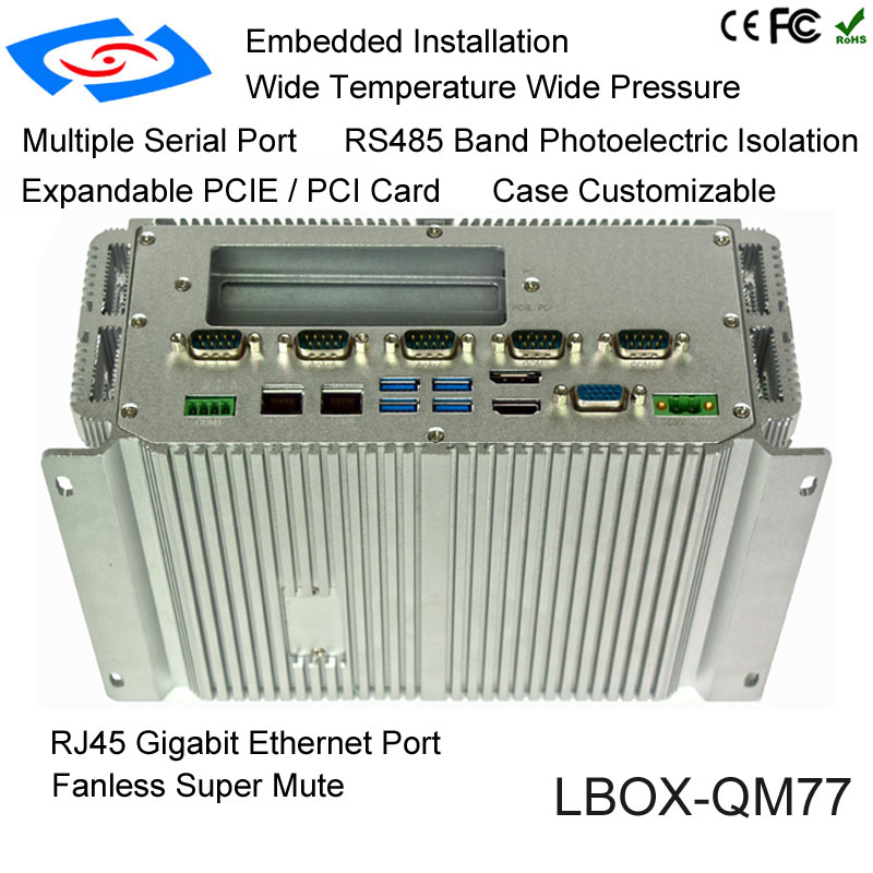 High Quality Fanless Embedded Industrial Grade Mini Box PC With RAM Onboard 2G Optional 2xDDR3 8G Max 16G Support Linux Win OS
