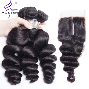 Loose Wave Bundles with Closure 3 Pcs Modern Show Human Hair Weave Peruvian Hair Bundles with Closure Remy Hair Extensions