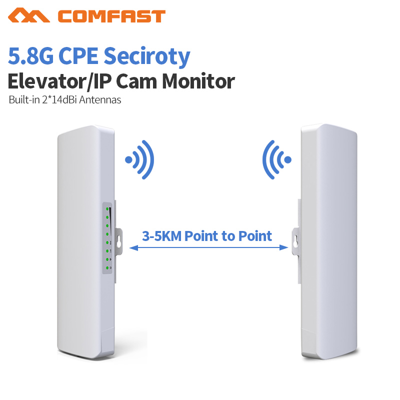 2pcs 3-5km Long Distance Outdoor 5.8G Wifi Router 2 Extender Signal Amplifier Point Wifi AP Wireless Bridge CPE Wi Fi Antenna AP