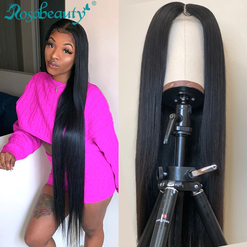 Rosabeauty 10- 30 40 Inch Long 13x6 Lace Front Human Hair Wigs Preplucked Peruvian Straight 250 Density Frontal Wig Black Women