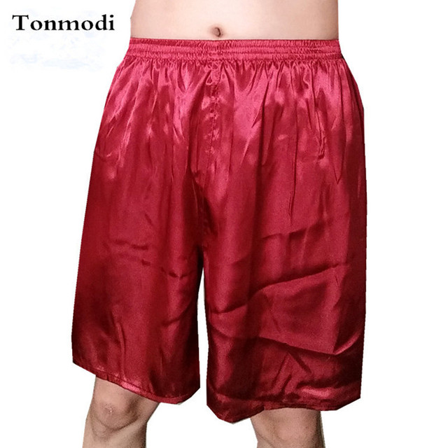 Pijamas Para Hombre Pantalones Cortos de Verano Pantalones Cortos de Seda Breve Color Sólido Casual En El Hogar Del Sueño Bottoms Sueño