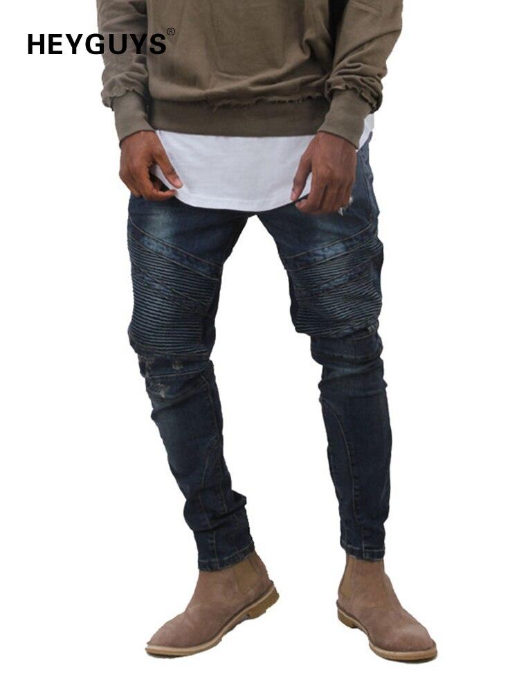 HEYGUYS 2016 Mens  jeans men Runway Distressed slim elastic jeans denim Biker jeans hiphop pants Washed black jeans  men blue denim