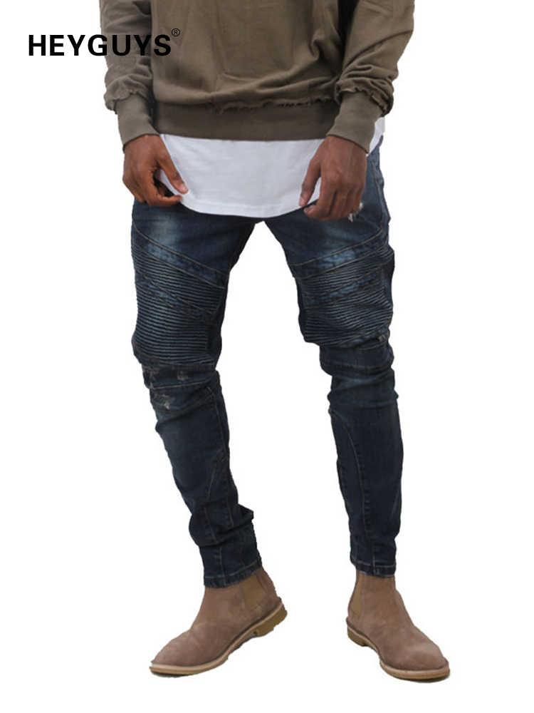 92a84fb747df7e HEYGUYS 2018 Mens jeans men high street slim elastic jeans denim Biker  jeans hiphop pants Washed