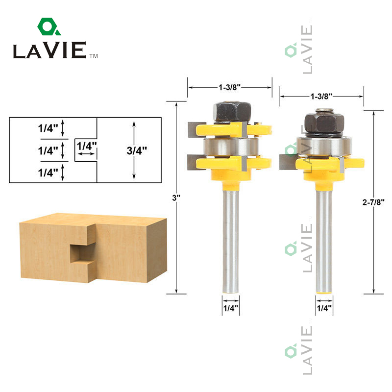 LA VIE 2Pcs/set 3/4 Stock 1/4 Shank Router Bit Tongue & Groove Drill Bits Set 3 Teeth T-shape Wood Milling Cutter Woodworking 2pcs tongue and groove router bit 1 4 shank milling cutter set woodworking 3 4 stock wood tools drill set