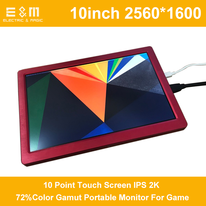 10 Inch 10 Point Touch Screen IPS 2K Portable Monitor For Game Ps3 Ps4 Xbox NS HDMI 2560*1600 USB 5V Power With Leather Case