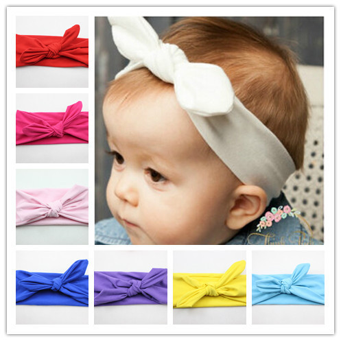 Promotion Cotton Headband White knot tie headband headwrap Vintage Head Wrap Photo Prop stretchy Knot Girls Hair Accessories