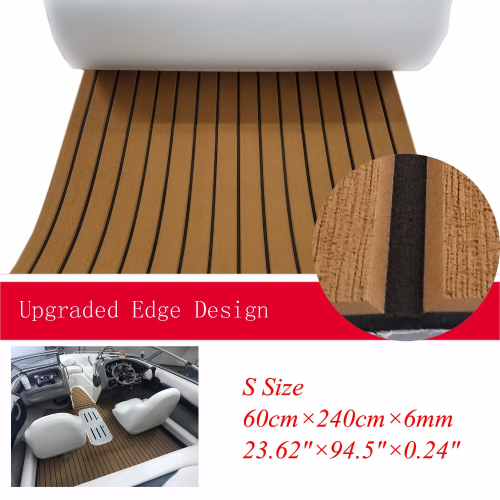 EVA Boat Teak Decking With Beveled Edge Yacht Marine Flooring Carpet Mat 60cm240cm / 23.694.5 Light Brown In Black AccessoriesEVA Boat Teak Decking With Beveled Edge Yacht Marine Flooring Carpet Mat 60cm240cm / 23.694.5 Light Brown In Black Accessories