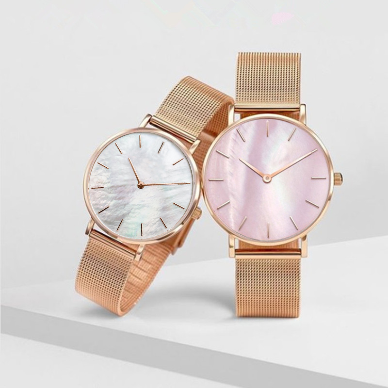 Mavis Hare Pink & White Seashell Mesh Women Watches Pearl dial Wristwatch with Stainless Steel Mesh Bracelet as Gift 1pcs