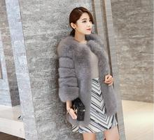 Artificial fur winter coat 2016 new thick warm fashion Korean fox casual women white gray red grape viol