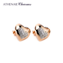 ATHENAIE 100% 925 Sterling Silver Color Rose Gold Heart Stud Earrings for Women Small Earrings Fine Jewelry(China)