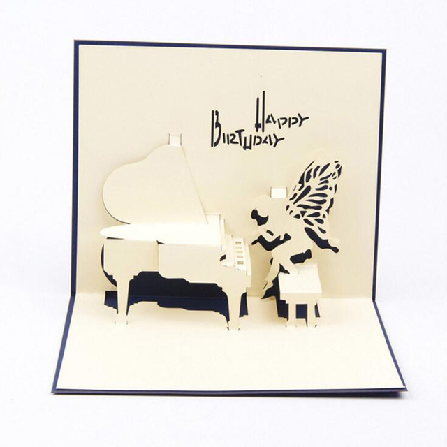 Wholesale Creative Paper Greeting Cards 3d Piano Design Paper Crafts