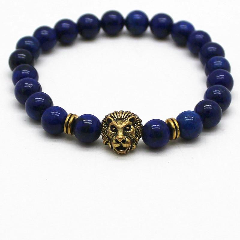 Doğal Taşlar Gümüş Lapis Lazuli Ile Altın Bakır Aslan Charm - Kostüm mücevherat - Fotoğraf 3