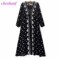 Cheshanf Fashion Deep V Neck Embroidery Floral Black Woman Dress Summer Maxi Ethnic Flowers Tunic Sexy