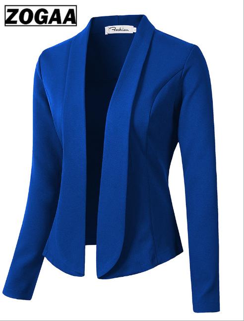 ZOGAA Для женщин пальто ежедневный пиджак 2019 модная Рабочая офисный костюм для дам Slim Fit нет кнопки Бизнес женский негабаритных Для женщин пал...