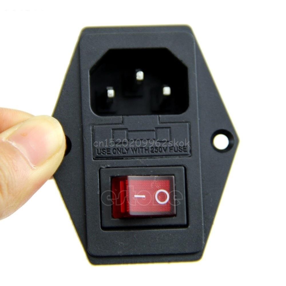 Black Red AC 250V 10A 3 Terminal Power Socket with Fuse Holder #H029# цена 2017