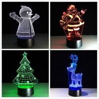 אקריליק 7 צבעים שינוי LED USB 3D שולחן מנורת חידוש מתנות עץ חג המולד שלג סעיף סנטה חג המולד צביים עבור בית קישוטים