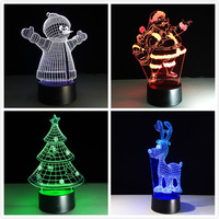 Acrylic 7 Colors Changing LED USB 3D Table Lamp Novelty Gifts Christmas Tree Snowman Santa Clause