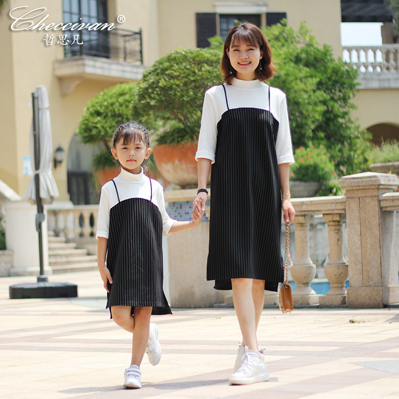 Checcivan Mom Daughter Dress Autumn 2017 Mother &Child Clothes Striped Bars Black Spaghetti Strap Faux Two Piece One-piece Dress 2014small little girl homemade parent child clothes for mother child bugs bunny cartoon one piece dress baby sweatshirt
