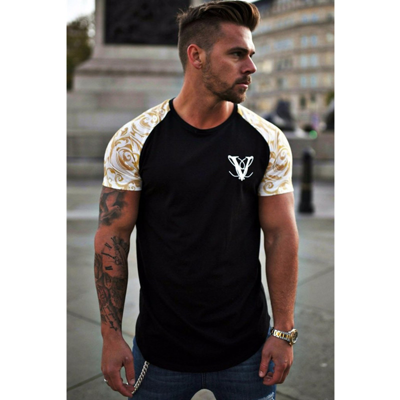 Short Sleeve O-neck Stripe Printed Loose Slim T shirt Mens 1