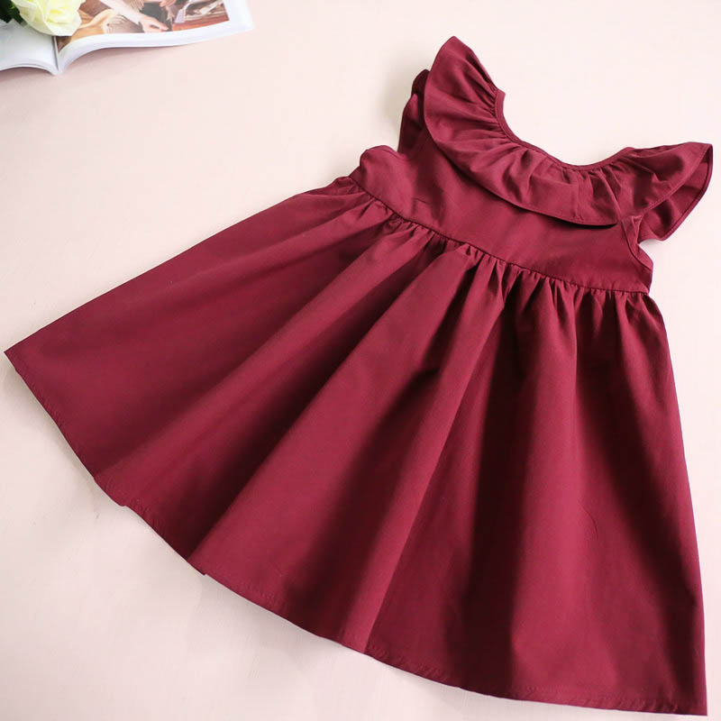 HTB1zYqSQFXXXXX.XXXXq6xXFXXXh - Hurave Summer 2017 New Casual Style Fashion Fly Sleeve Girls Bow Dress Girl Clothing For Children Cute Dresses