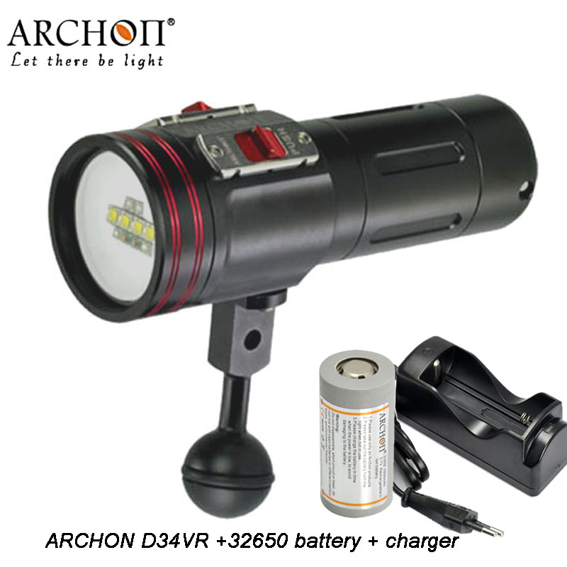 100% Original ARCHON D34VR/W40VR Underwater Photographing Lights 4 Color CREE LED Underwater Biright Diving Flashlight intro vr x1 w