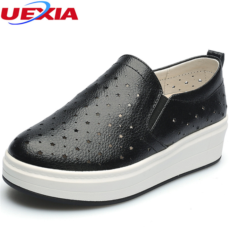 UEXIA Women Flats Shoes Loafers Leather Solid Cut-outs Comfortable Women Casual Shoes Ladies Moccasins Loafers Wild Breathable 2017 autumn fashion real leather women flats moccasins comfortable summer ladies shoes cut outs loafers woman casual shoes st181