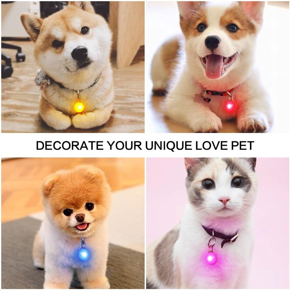 LED Pet Night Safety Lamp Dog Cat Collars Glowing Flashing Pendant Indicator Light Leads Lighting Keychain In Dark Decoration