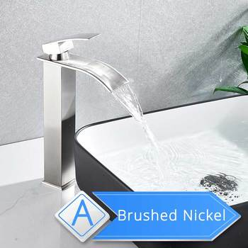 Brushed Nickel Waterfall Basin Faucet Single Lever Bathroom Vessel Sink Tap Deck Mounted Brass Lavatory sink Mixer Basin Tap 12
