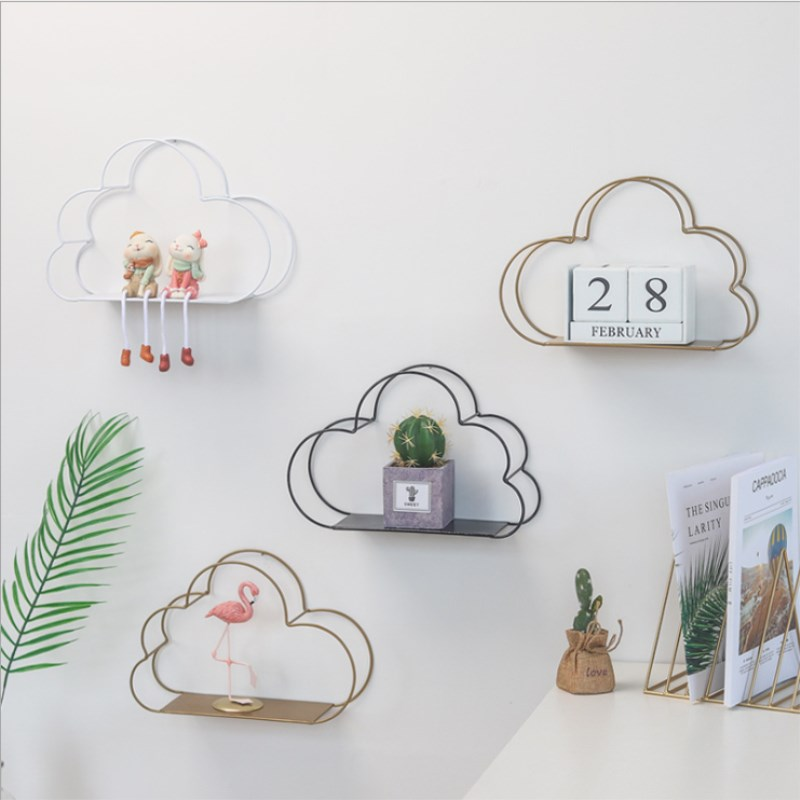 Nordic Ins Wind Wrought Metal Storage Rack Iron Cloud-shaped Wall Decorative Hanging Home Living Room Bedroom