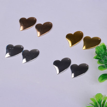 50pcs/lot 16*17mm copper material gold silver blank heart charm pendant accessories for bracelet DIY jewelry making
