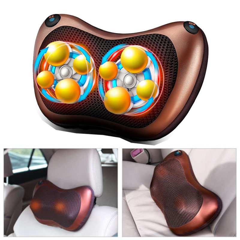 Car Neck Massager Pillow Electric Shiatsu Spa Relax Home/car Equipment With Led Light Heating Shoulder Back Leg Body Massage Mild And Mellow Neck Pillow Automobiles & Motorcycles