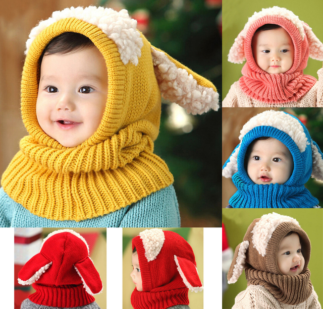 Baby Toddler Girls Boys Warm Hat Winter Beanie Hooded Scarf Earflap Knitted  Cap b2321ae5e590