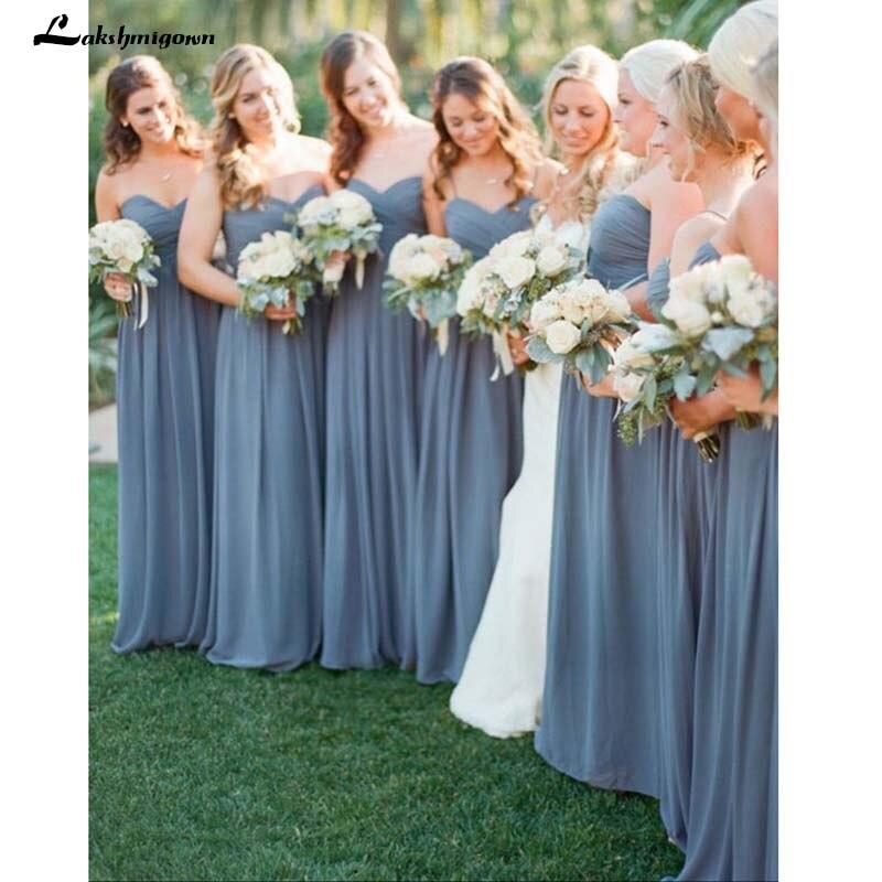 Simple Sweetheart A-line Chiffon Long Grey   Bridesmaid     Dress   Wedding Party   Dresses   Cheap   Bridesmaid     Dresses