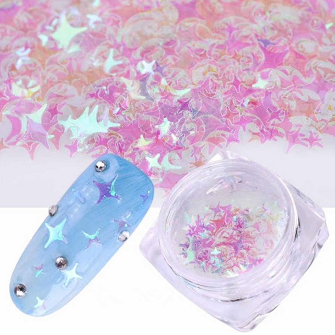 Glittering Nail Flake Paillette untuk Nail Art Dekorasi DIY Fantasy 3/4mm Mix Ukuran Empat Sudut Bentuk Bintang Lucency Cantik Sequin
