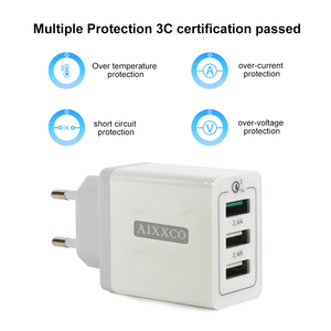 "Image 3 - AIXXCO 3 יציאות מהיר מטען QC 3.0 30W USB מטען עבור iphone 7 8 ipad סמסונג S8 Huawei Xiaomi מהיר מטען QC3.0 האיחוד האירופי/ארה""ב Plug"