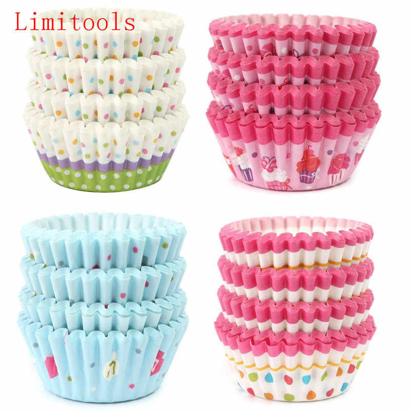 4 styles 100 pcs cupcake liner baking cup cupcake paper muffin cases Cake box Cup egg tarts tray cake mould decorating tools