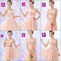 Elegant 6 Styles Pink Chiffon Lace Bridesmaid Dress/Short Lace Dress/Wedding Party Dress/Cheap Price