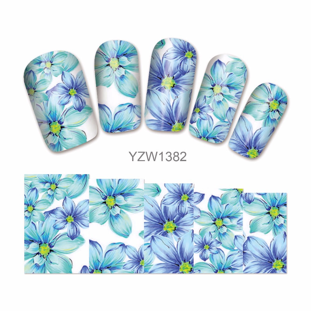 LCJ 'Nail Art Water Transfer Totem Flower Design Nail Sticker Watermark Decals DIY Beauty Nail Tips Decoration Wraps Tools 1382 nail art water tattoo coconut trees summer style design tips decorations water transfer nail art decals 8215679