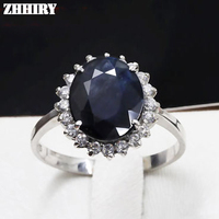 Women Black Blue Natural Sapphire Stone Ring Genuine Solid 925 Sterling Silver Rings Gem Size 10*12mm Jewelry Rings ZHHIRY