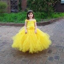 Flowers Belle Princess Tutu Dress Girls Baby Kids Fancy Party Christmas Halloween Costumes Beauty Beast Cosplay Dress Ball Gown