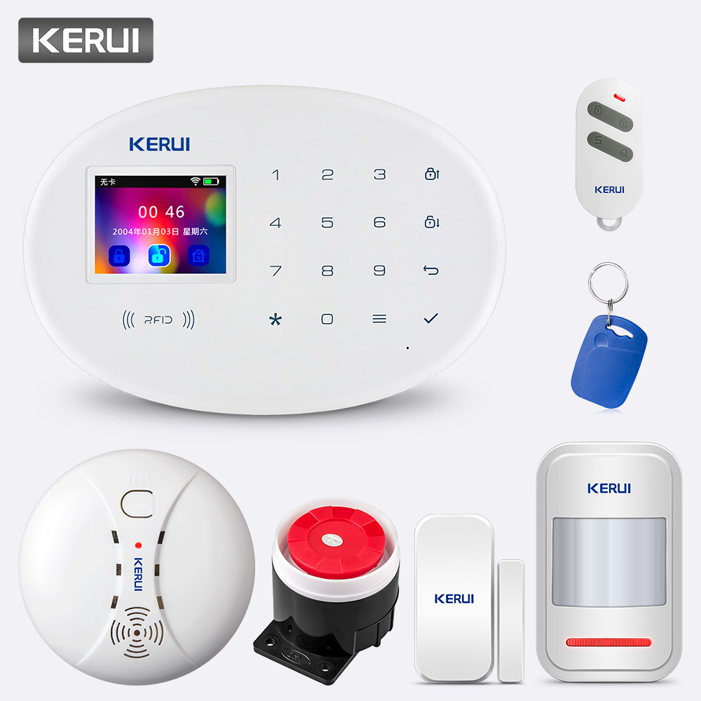 KERUI W20 2.4 inch Touch Panel 433MHZ Wireless WiFi GSM Security Burglar Alarm System Phone APP RFID Card Control Smart System|Alarm System Kits| |  - title=