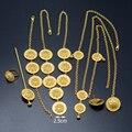 Etíope de Oro Aretes Collar de Conjuntos de Joyas Horquilla Anillo de la Pulsera de Cadena de La Frente Habesha Eritrea África Novia de la Boda #046202