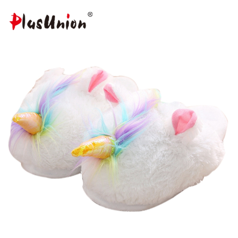6 types unicorn indoor winter cotton cosplay slipper white unicorn stable 26 cm for women home furry fluffy house warm animal fluffy synthetic lolita curly flax mixed gold long side bang capless cosplay wig for women