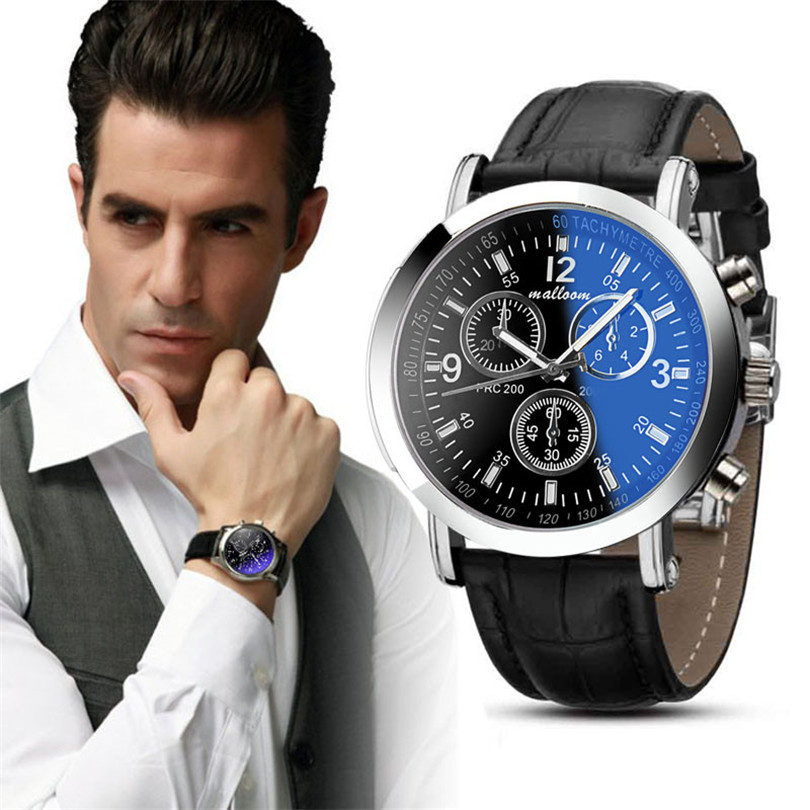 FR@ 2018 fashion relogio masculino Luxury Faux Leather Mens Blue Ray Glass Quartz Watches watch men quartz-watch novel design new luxury fashion faux leather men blue ray glass quartz analog watches casual cool watch brand men watches